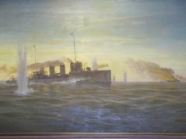 Картина с изображением боя Новика с немецкими эсминцами