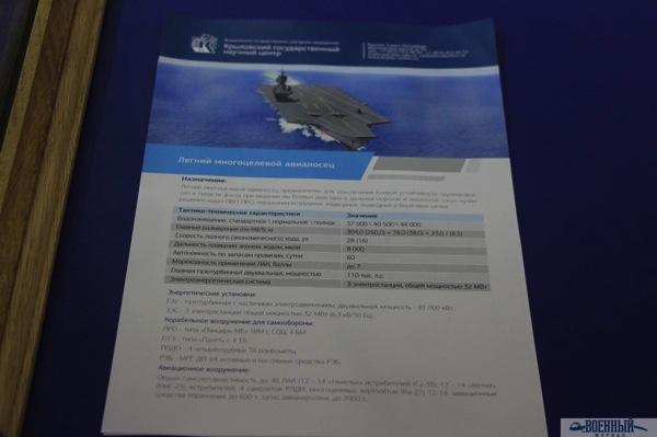 Предполагаемые характеристики разработанного крыловцами легкого авианосца